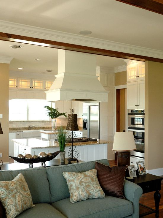 Design For Living Room With Open Kitchen: Really Like The Idea Of Adding Upper Lighted Cabs For