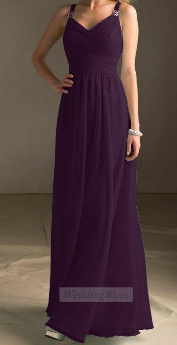 Dark Purple Long Bridesmaid Dress Chiffon Aline By
