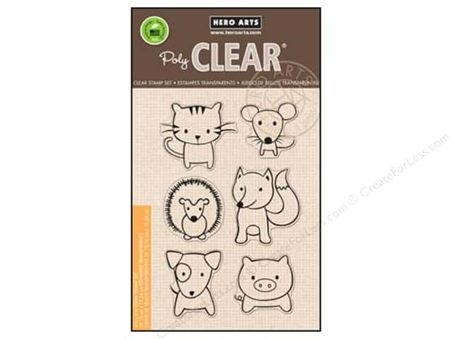 Hero Arts Poly Clear Stamps can be applied to a Clear base to see precisely where you place the image. Manufactured from 100% photo-polymer, and are non-toxic as well as latex and phthalate free. Playful Animals stamp Set includes 6 child-like drawings of a cat, dog, mouse, pig, fox, and hedgehog.