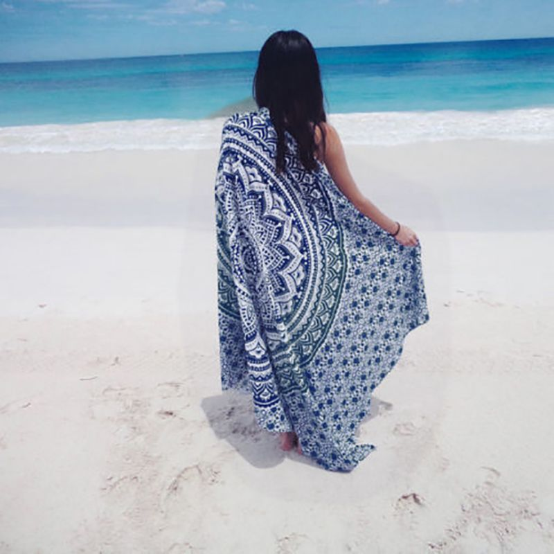 Chiffon Bohemia Round Beach Towel Meditation Mandala Towel Square Rectangle  Hippie Peacock Mandala Tapestry Wall Hanging
