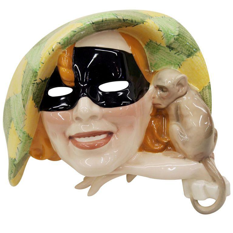 Italian Art Deco Harlequin Wall Mask By Sandro Vacchetti