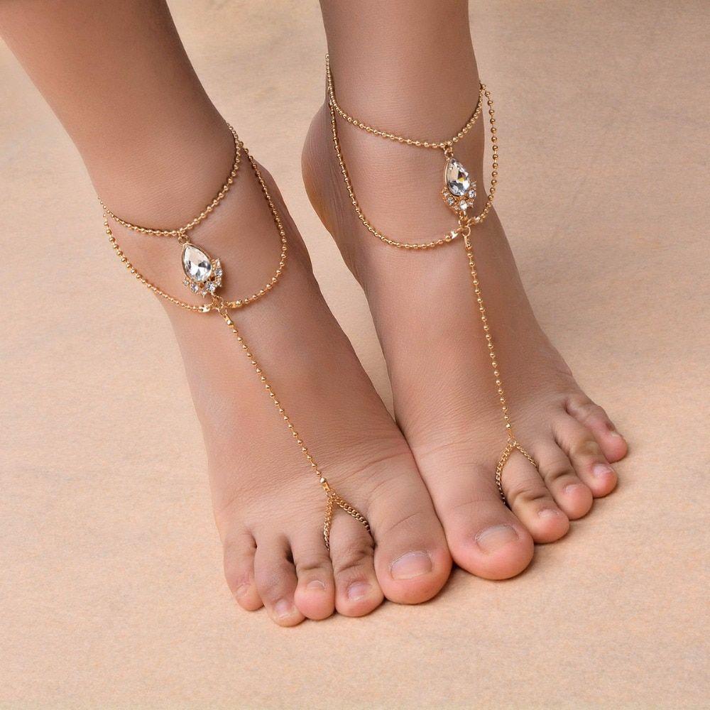 Bead Sandal Beach Ankle Bracelet Vintage Barefoot Chain Anklet Foot Chain