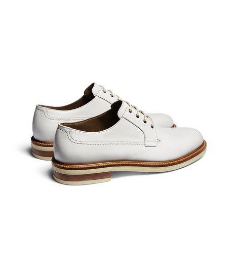ERMENEGILDO ZEGNA:Chaussures À LacetSemelle en cuir et caoutchouc Ivoire44960537WO