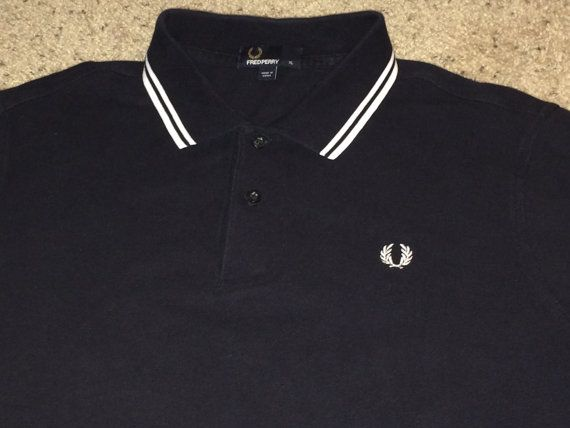 Sale Vintage FRED PERRY Black Polo Shirt Casual ska by casualisme
