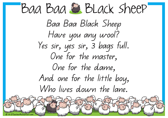 Black Sheep Baa Printable Nursery Rhyme K 3 Teacher Resources