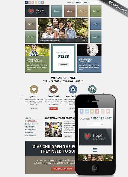 Charity website template, wordpress theme | Website Templates ...