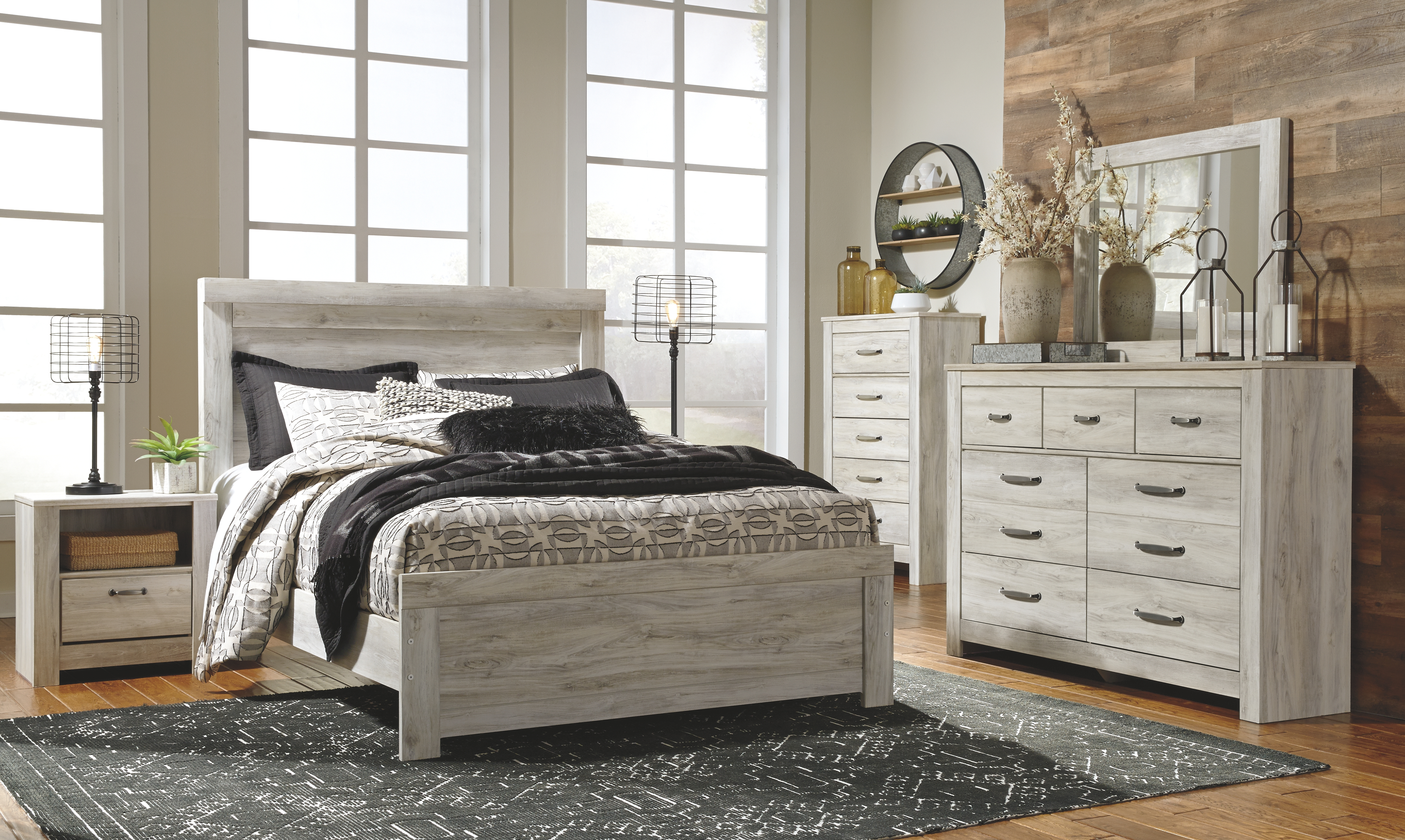 Bellaby Queen Panel Bed Whitewash Bedroom Sets Bed Furniture King Storage Bed