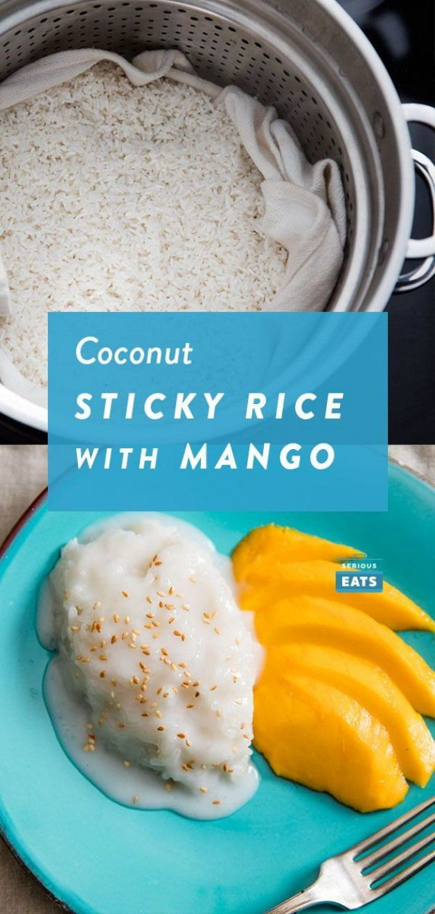 Coconut Sticky Rice With Mango (Khao Niao Mamuang) | This Thai dessert of glutinous sticky rice seasoned with salty-sweet coconut milk and served with tender fragrant slices of mango will make an addict out of you.