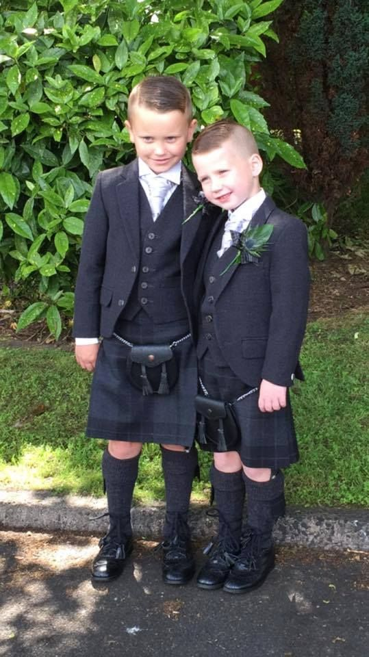 Jack and Bob pictured here looking great in their MacGregor and MacDuff exclusive Silver Mist kilts for their mum and dad's wedding!