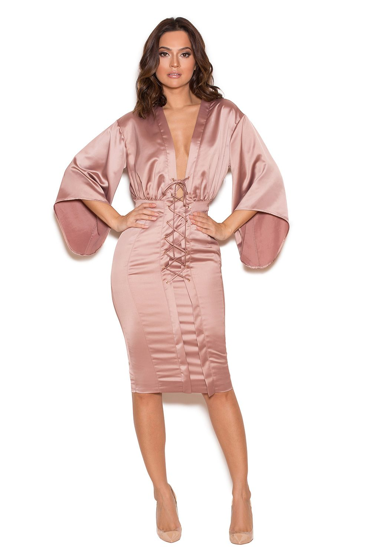 Clothing : Bodycon Dresses : \'Eliott\' Rose Gold Satin Lace Up Dress ...