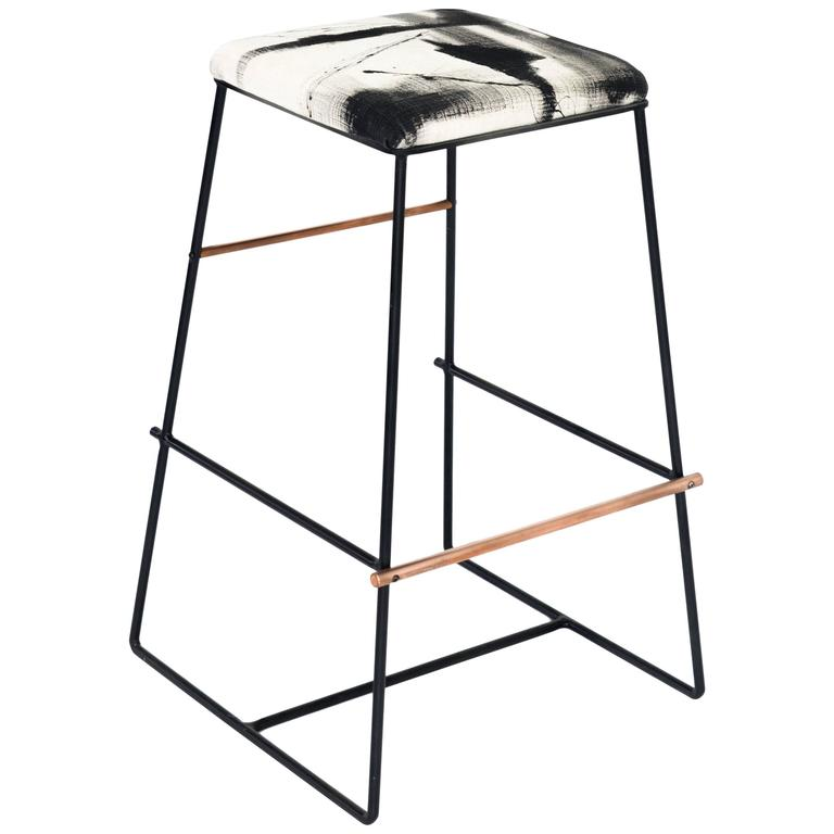 Black And Copper Metal Bar Stool With Custom Hand Painted
