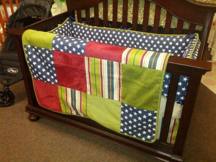 Fireside Comforts Maverick American Flag Crib Bedding Set
