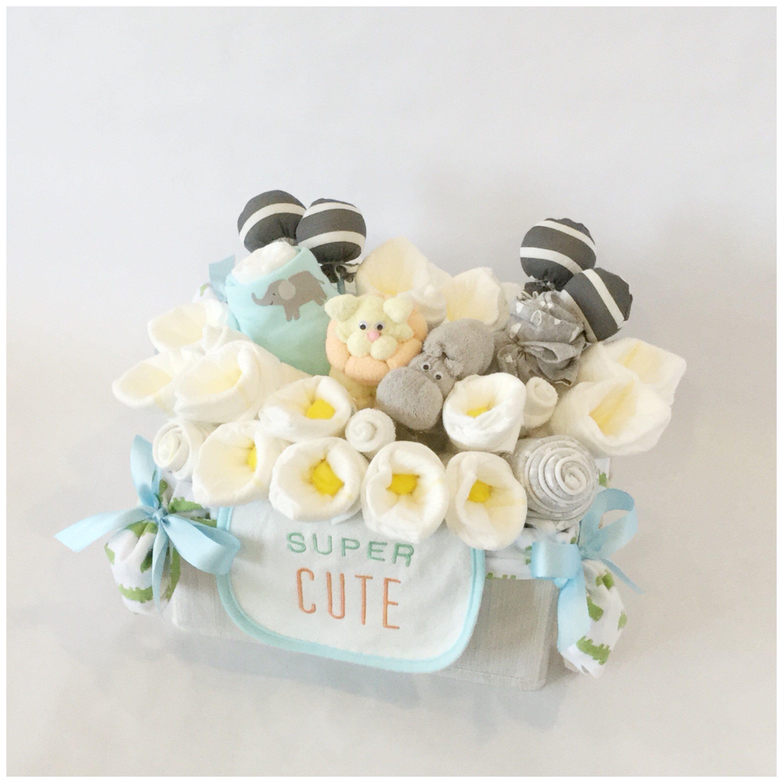 Baby gift basket gender neutral jungle animals diy baby