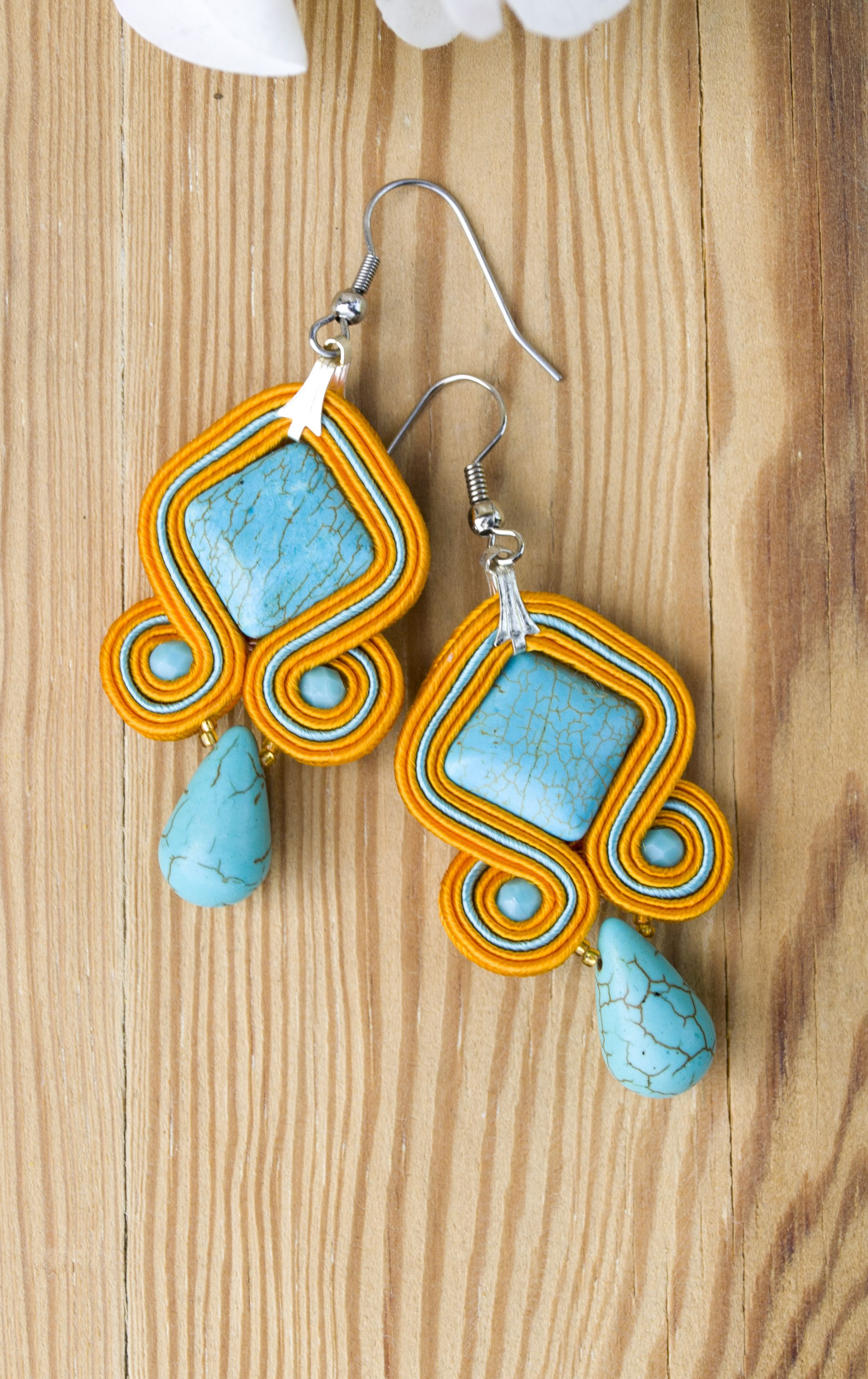 dd2f55947 Earrings made with the soutache embroidery technique using turquoise howlite.  Idea gift for her.