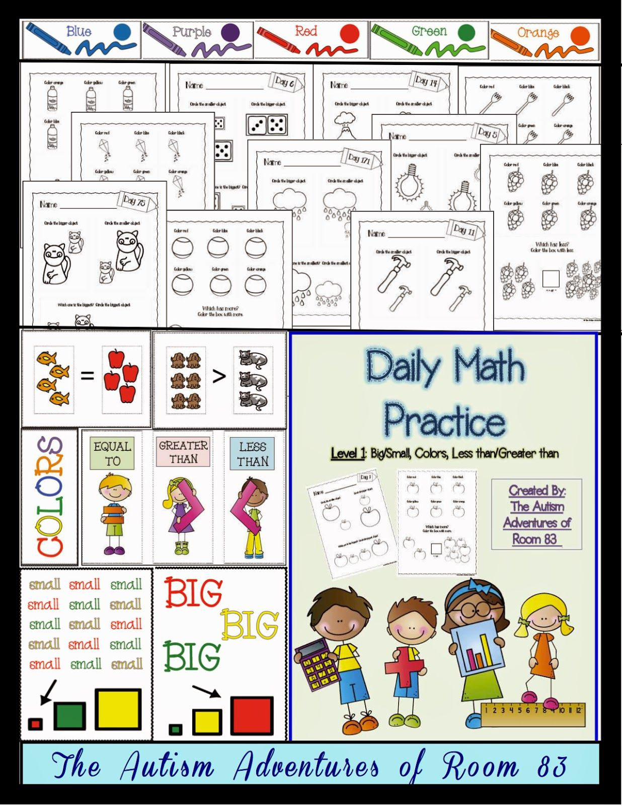 Daily Math Practice Level 1 Big Small More Less Colors Autism Adventures Autistic Students Special Education Worksheets Daily Math Practice [ 1600 x 1236 Pixel ]