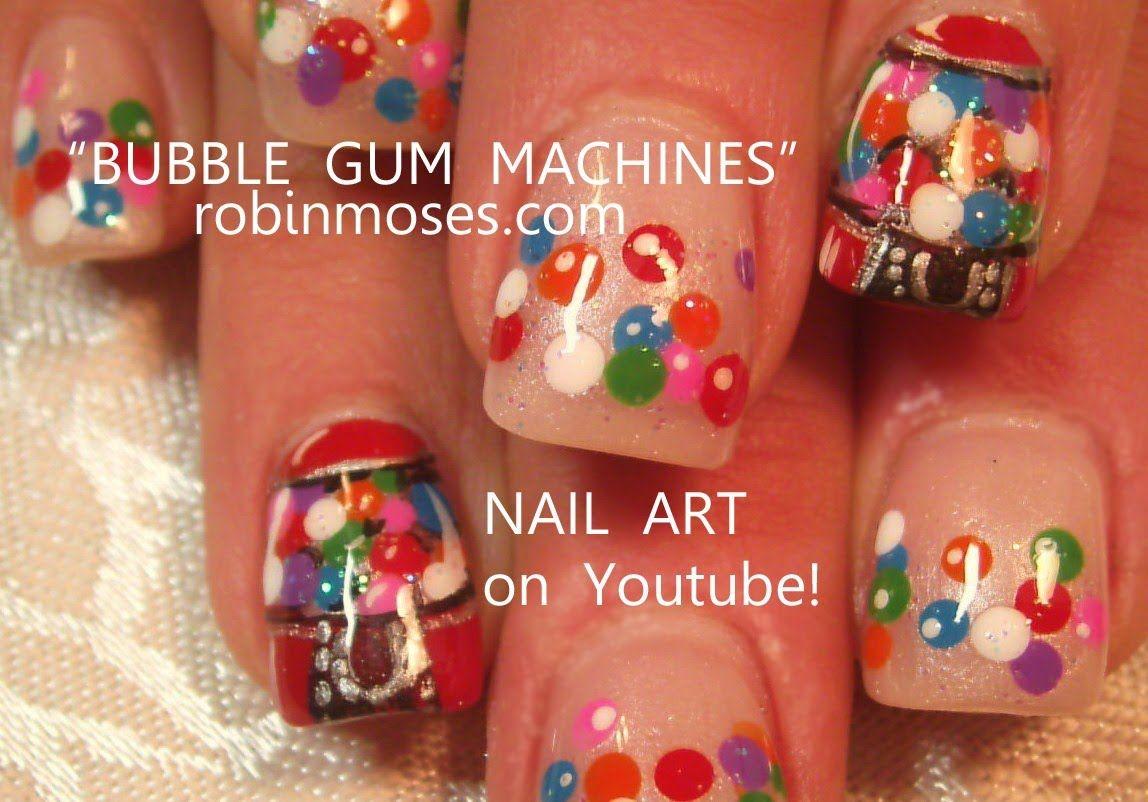 Gumball Machine Candy Nail Art design tutorial!! - YouTube | Nail ...