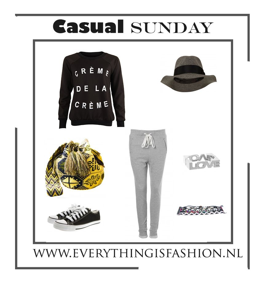 The perfect look for a casual day #sweater #jogging #hat #mochila #bag www.everythingisfashion.nl