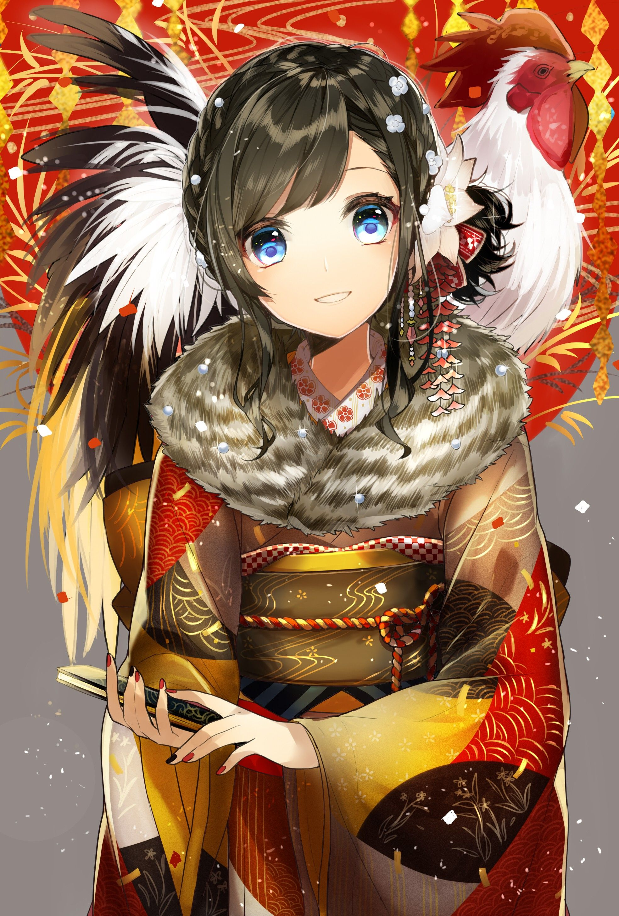 Anime x anime anime girls kimono japanese clothes short hair