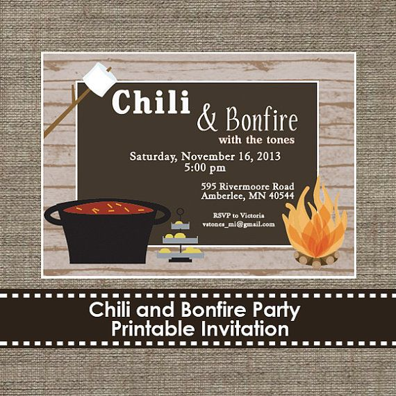 chili and bonfire party invitation  diy  printable  receptions, beach bonfire party invitations, bonfire night invitations, bonfire night invitations for free
