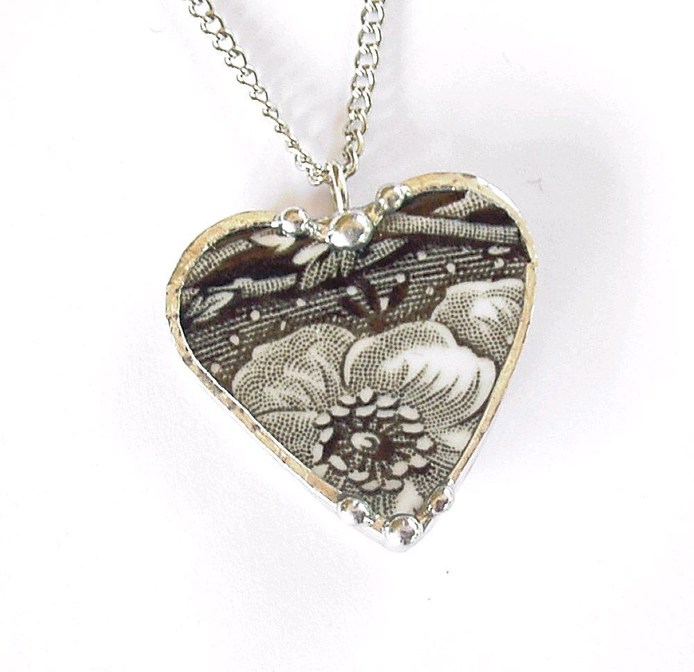 Broken china jewelry heart pendant necklace antique black and white toile transferware. $40.00, via Etsy.