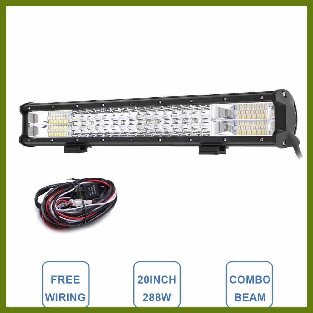 50inch 288W LED Straight Work Light Bar Combo Driving Offroad SUV ATV Dual Row