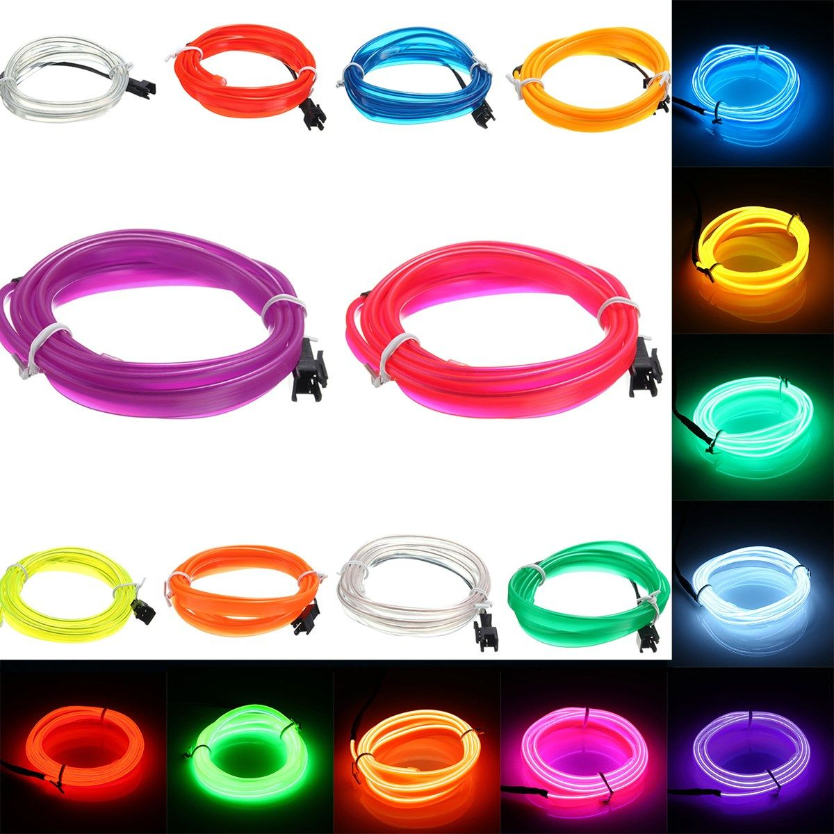 1M Led Flexible EL Wire Neon Glow Light Rope Strip 12V For Christmas ...