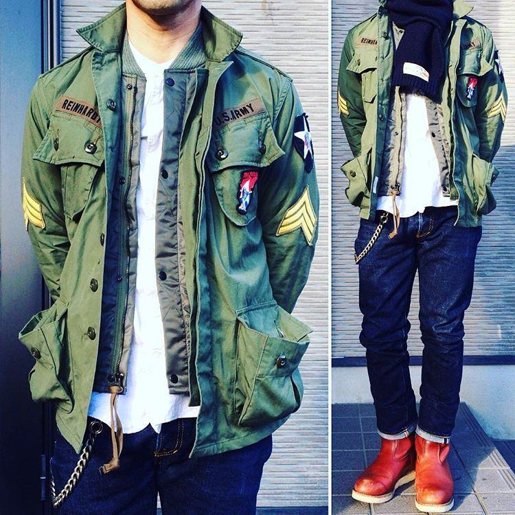 お疲れ様です 今日は職場の新年会 いつもと変わらないコーデですが 楽しんで来ます ジャングルファティーグジャケット cwu9p ミリタリージャケット デニム 991xh therealmccoys therealmcc military jacket styles m outfits