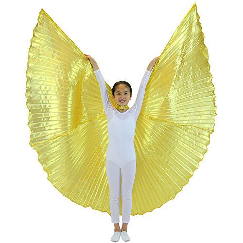 Danzcue Women/'s Transparent Gold Costume Angel LED Wing with Sticks