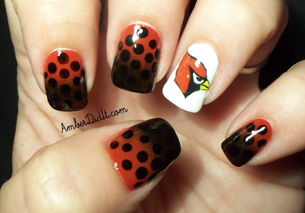 Amber did it!: NFL Nail Series #10 ~ Arizona Cardinals Nails | Nails ...