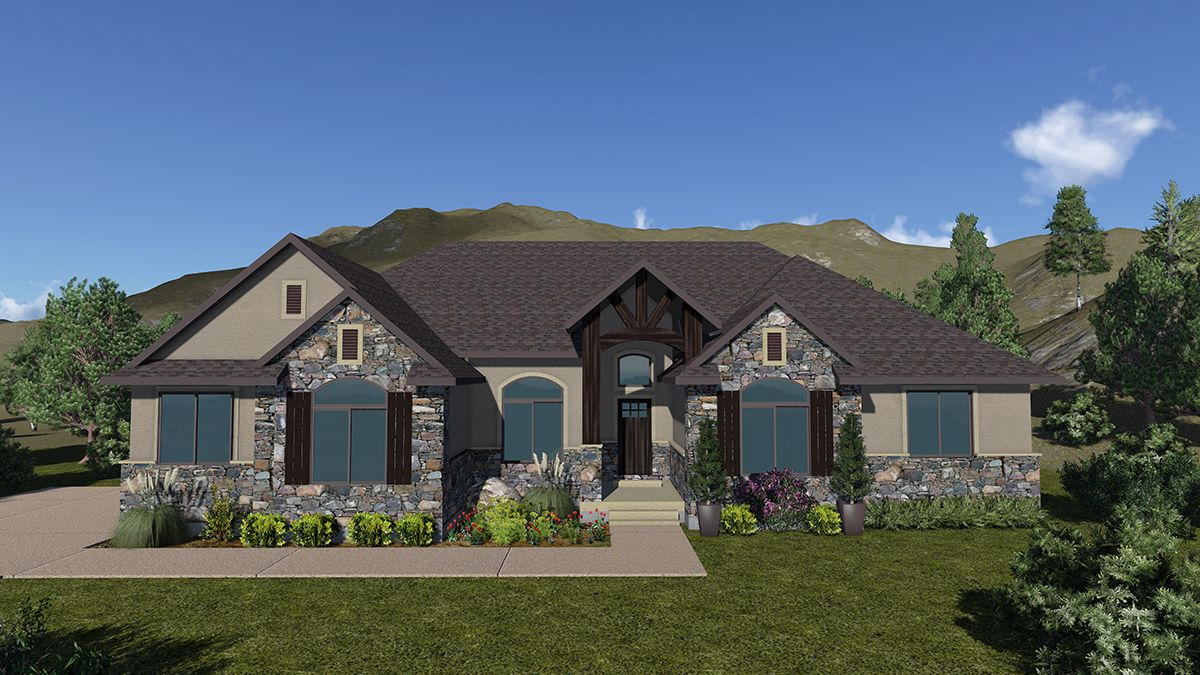 Prescot A Mountain Rustic Style Rambler House Plan Walker Home
