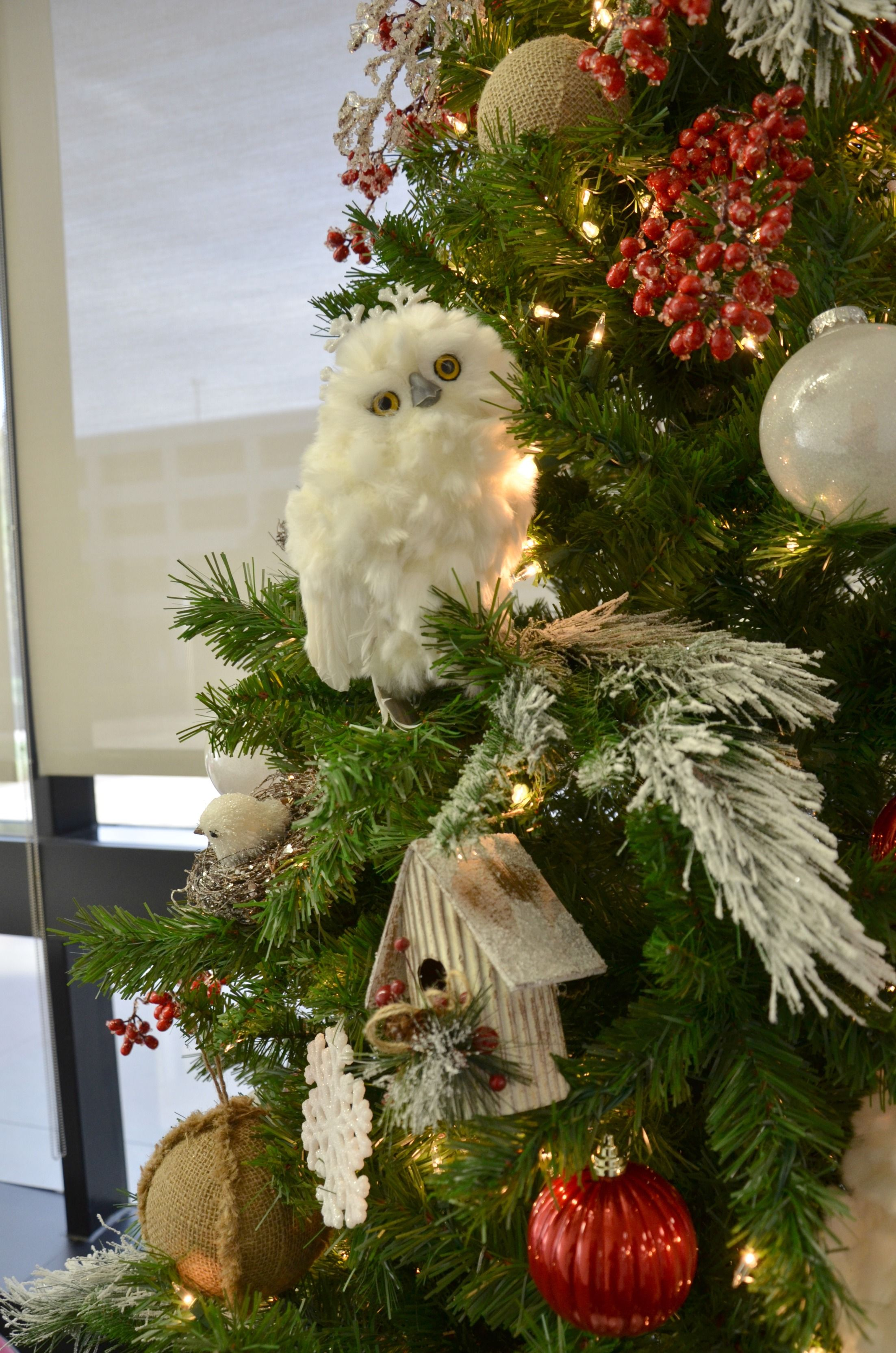 Owl Nature Decorated Christmas Tree Rental, Commercial Christmas Decorator, Christmas