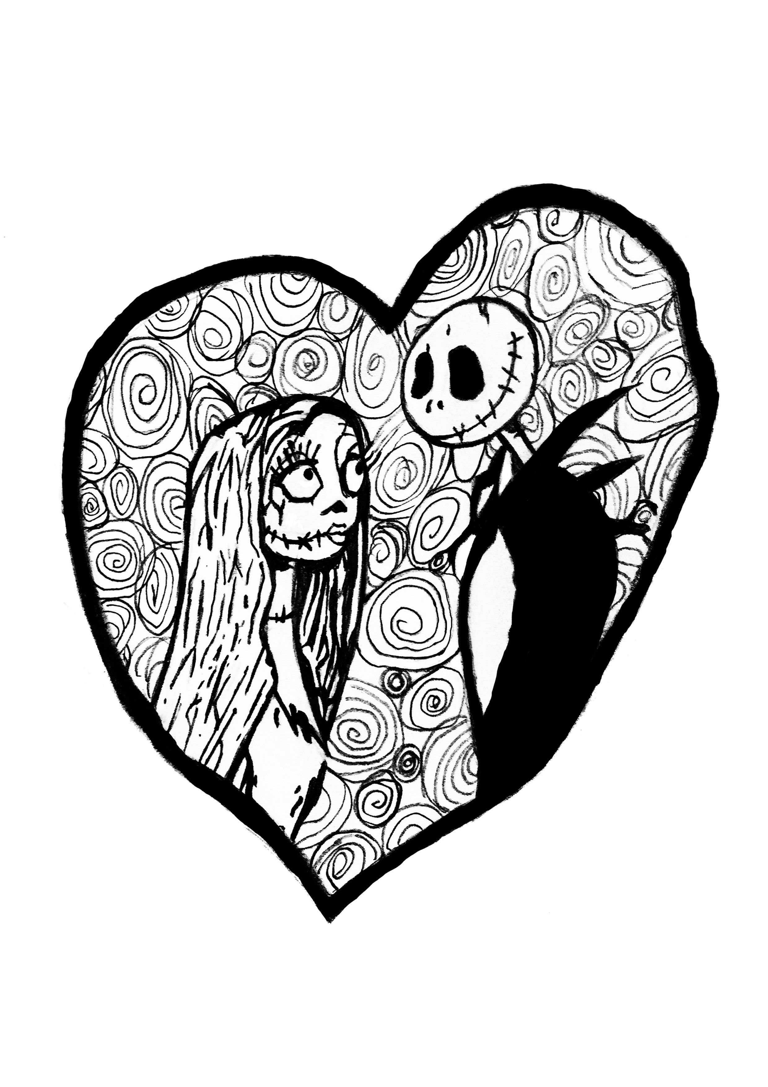 Jack Sally From The Movie Tim Burton S The Nightmare Before Christmas Together In A C Heart Coloring Pages Love Coloring Pages Happy Birthday Coloring Pages