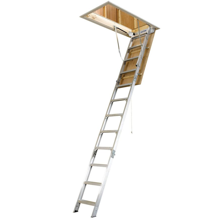 Werner Ah 10 41 Ft To 12 Ft Aluminum Folding Attic Ladder Lowes Com Attic Ladder Attic Renovation Attic Remodel