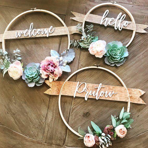 12in saftiger Kranz mit Familiennamen oder benutzerdefinierten Gruß – benutzerdefinierte Kranz – 12in Hoop Kranz – Custo #succulents