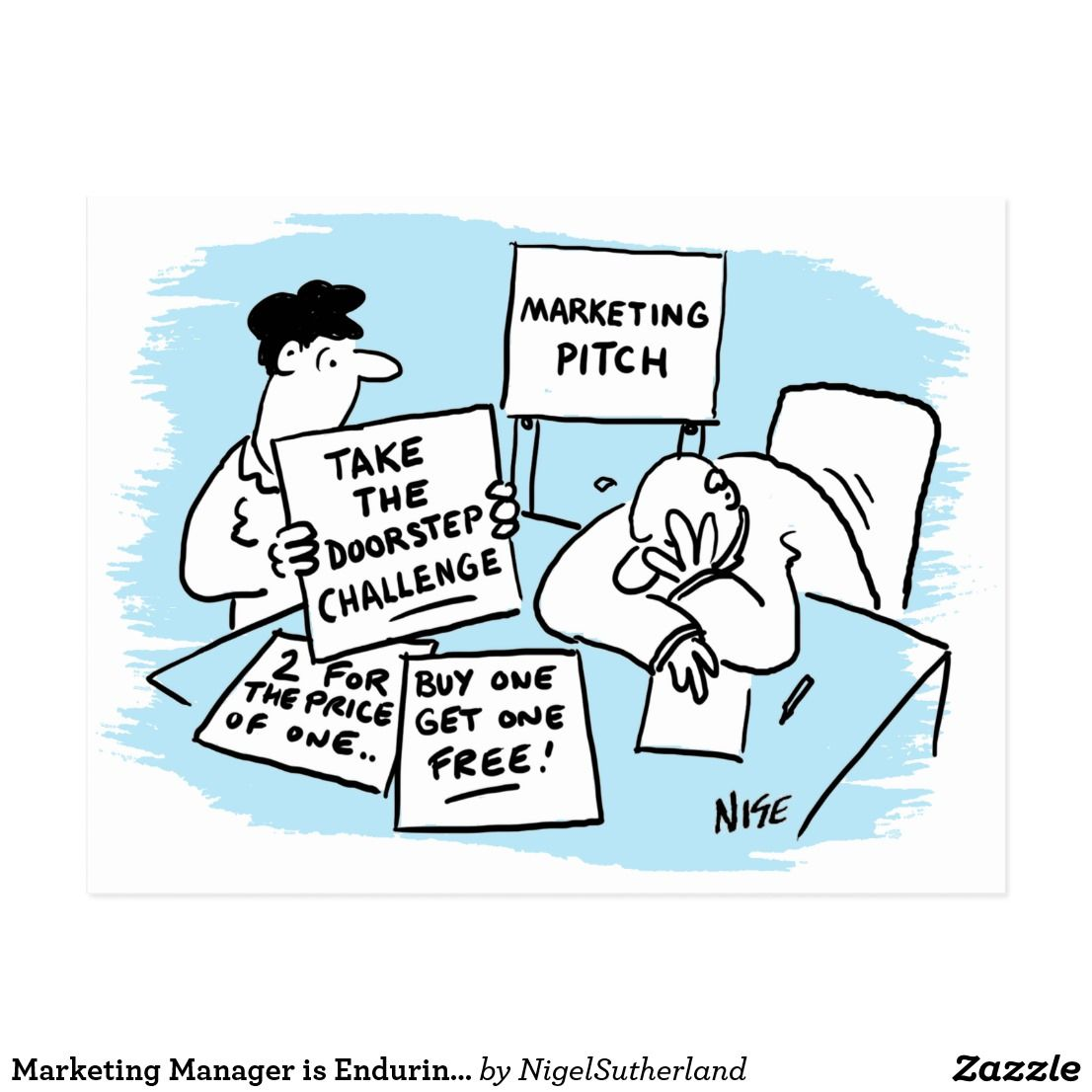 Marketing Manager is Enduring a Sales Pitch Postcard