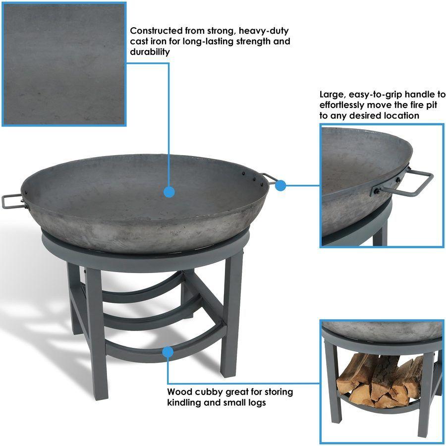 Sunnydaze 30 Inch Cast Iron Fire Pit With Built In Log Rack In 2020 Cast Iron Fire Pit Iron Fire Pit Glass Fire Pit