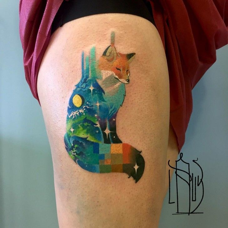 Tatuajes Estilo Pixel And Glitch La Técnica Rusa De Moda Glitch - Artist creates amazing animal tattoos with digital pixel glitches