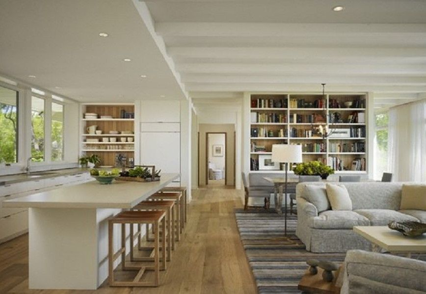 Inspiring Open Floor Plan Kitchen Dining Living Room Combined Design :  Outstanding Open Floor Plan Kitchen Dining Living Room White Bookshelf  White Kitchen ...