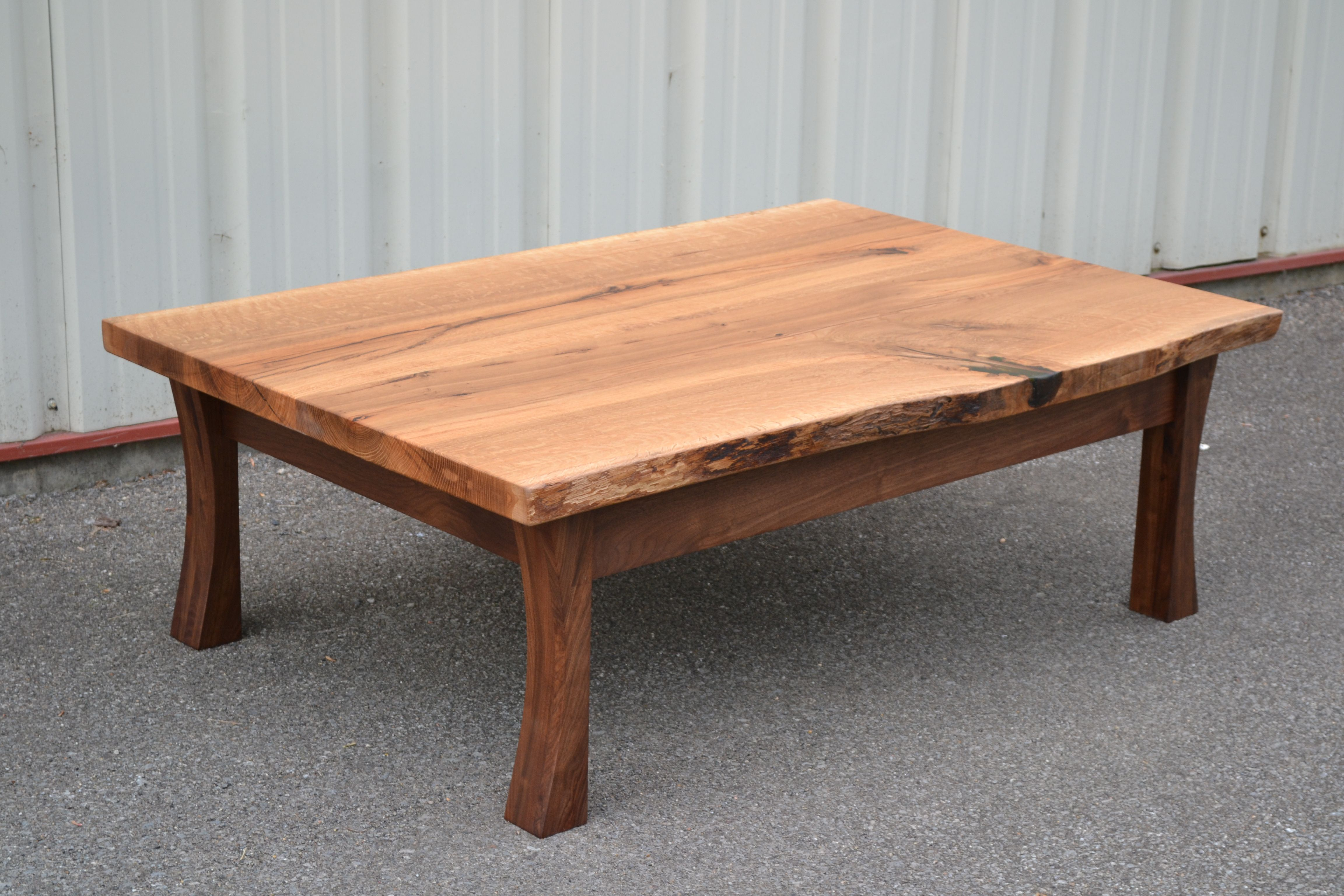 Live Edge White Oak Coffee Table With Curved Walnut Legs Coffee Table White Oak Coffee Table Japanese Coffee Table [ 3072 x 4608 Pixel ]