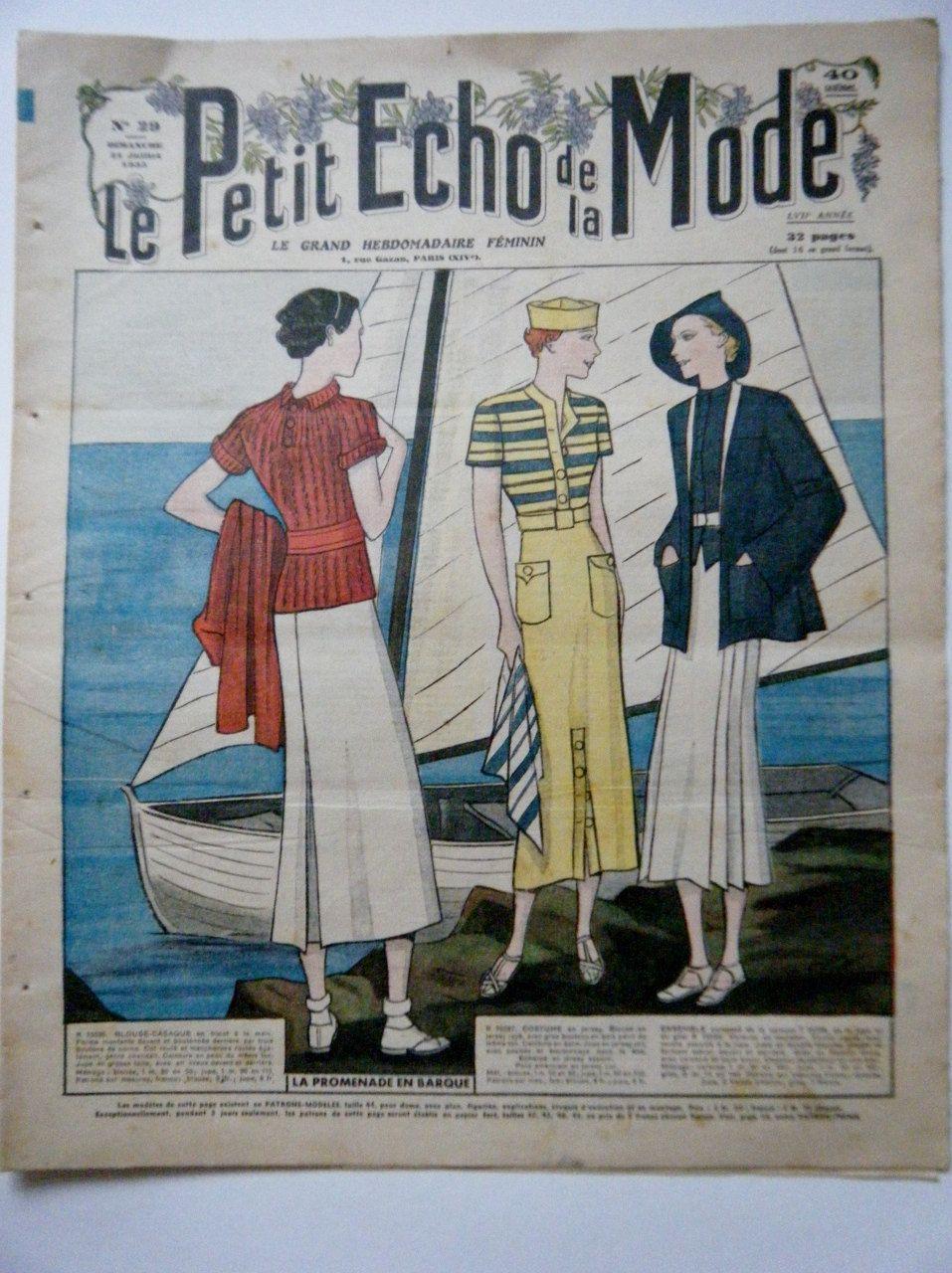 1930s French Fashion Magazine Le Petit Echo de la Mode Sailing ...