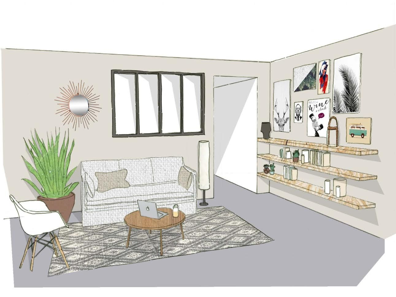 Projet salon naturel architecte projet sketch dessin for Salon amenagement interieur