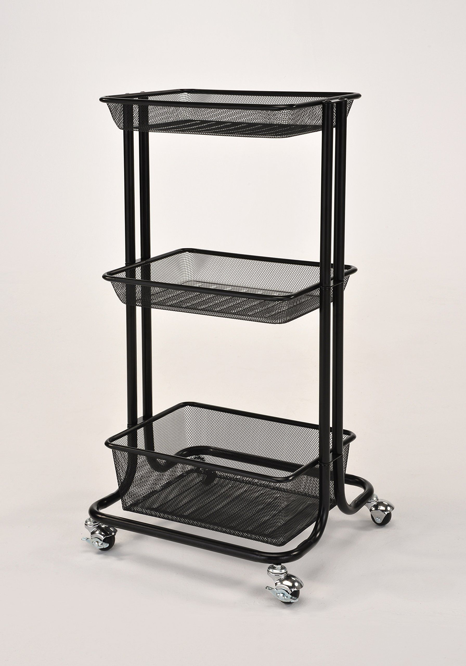 Captivating Black Metal Mesh 3tier Home Kitchen Bedroom Laundry Storage Rolling Utility  Trolley Cart ***