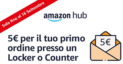 Buono Amazon da 5 euro se utilizzi Amazon Hub
