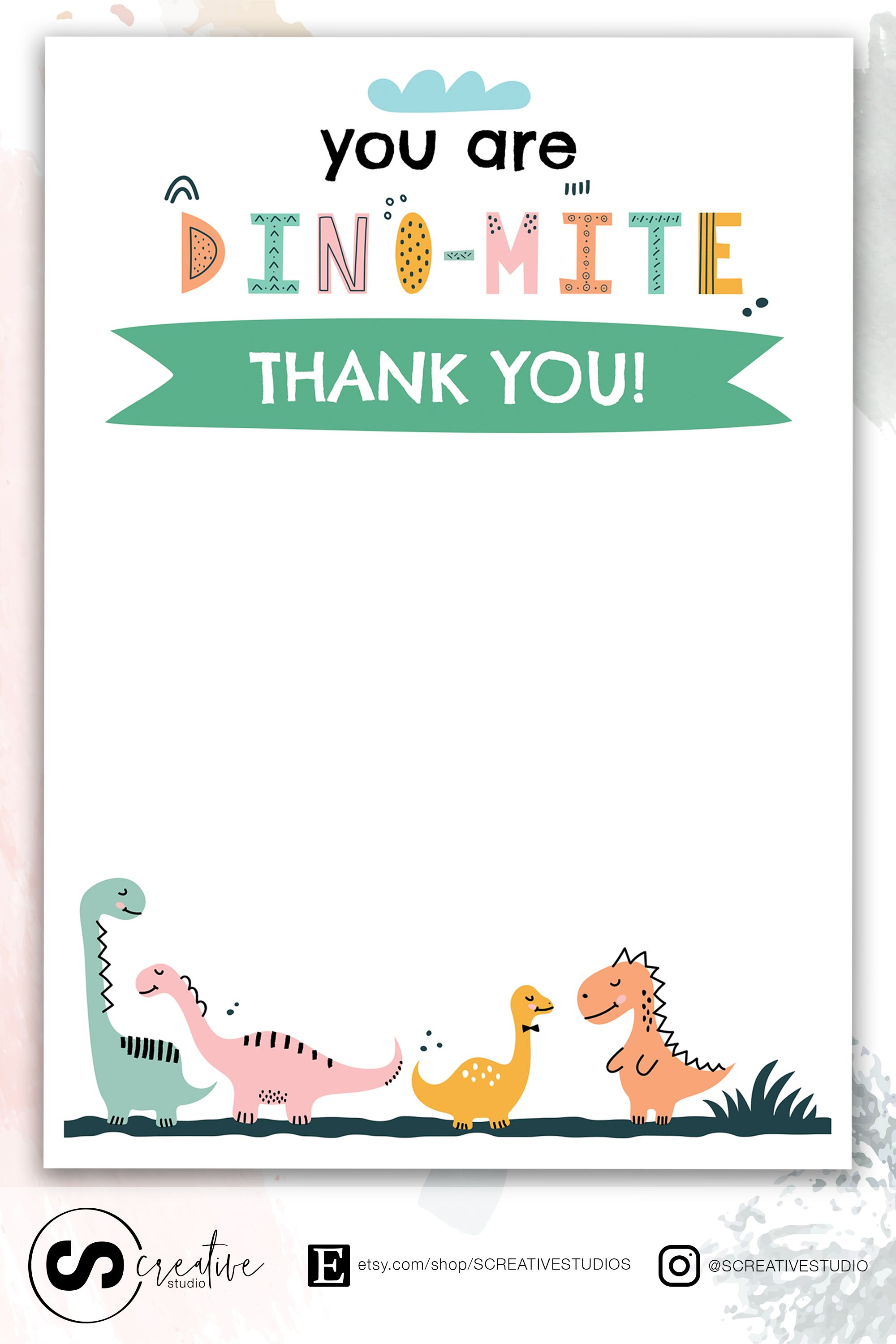 Dinosaur Thank You Card Kids Birthday Theme Kids Birthday Theme Kids Party Themes Thank You Cards