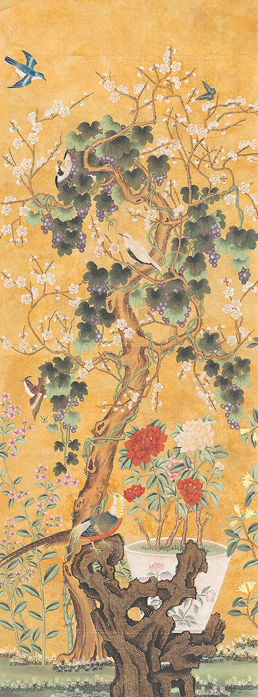 Antique indienne chinoiserie handpainted panel | Art | Pinterest ...