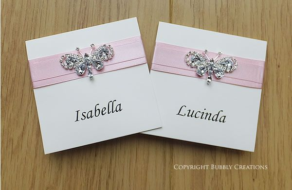 Crystal butterfly wedding place cards guest name cards in pink crystal butterfly wedding place cards guest name cards in pink stopboris Choice Image