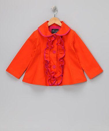 Stella & Stevie Orange Ruffle Jacket