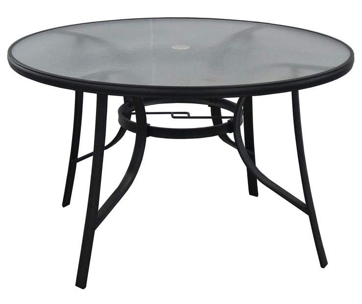 Telescope Casual 48 Inch Round Aluminum Patio Dining Table With Glass Top Textured Black Round Patio Table Glass Round Dining Table Glass Top Dining Table
