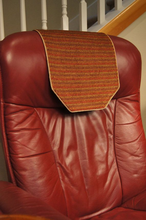 Recliner Chair Headrest Protector Striped Olive By Chairflair Headrest Decorative Runner Chair
