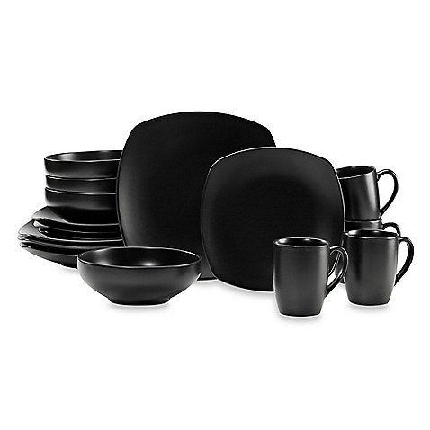 Gibson Home Paradiso 16-Piece Square Black #Dinnerware Set  sc 1 st  Pinterest & Gibson Home Paradiso 16-Piece Square Dinnerware Set in Black | Black ...